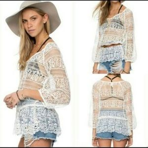 Free People We The Free Crochet Peplum Top size M